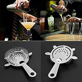 Whitelotous Stainless Steel Bar Strainer Cocktail Shaker Wire Mixed Drink Ice Strainer for Bar
