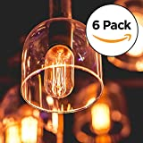 6-Pack Edison Light Bulb, Antique Vintage Style Light, Amber Warm, 40w/110v (E26/27 Base)