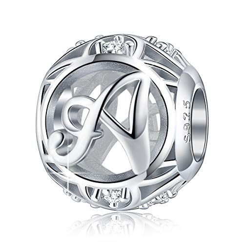 Letter Charm Initial A-Z Alphabet Charm Dangle Charm for Pandora Charm Bracelet Necklace, 925 Sterling Silver CZ Beads Charm Personalized Jewelry Gift for Men Women Girls Birthday Valentine's Day (A)