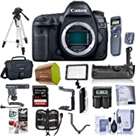Canon EOS 5D Mark IV DSLR Body with Canon Log - Bundle with 64GB U3 SDXC Card, Camera Case, Tripod, Spare Battery, Battery Grip, Video Light, Shotgun Mic Software Package and More