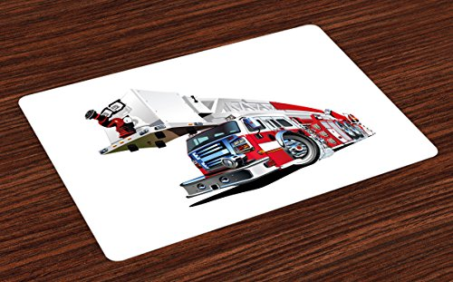 (Ambesonne Truck Place Mats Set of 4, Firetruck Speeding to Danger Illustration Emergency Services Theme 911 Cartoon, Washable Fabric Placemats for Dining Room Kitchen Table Decor, Blue Grey)