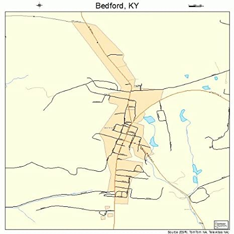 Amazon.com: Large Street & Road Map of Bedford, Kentucky KY ...