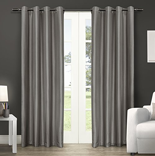 Exclusive Home Curtains Chatra Faux Silk Grommet Top Window Curtain Panel Pair, Silver Cloud, - Warehouse Silver
