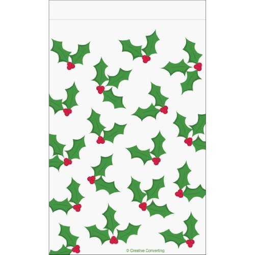 Creative Converting 12 Count Holly Designed Cello Goodie Bags with Zipper Seals