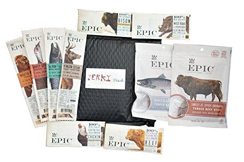 Ultimate Epic Jerky Stash Gift Set - Epic Variety Pack - Epic Strips, Bars and Bites - Beef Salmon Boar Turkey Bison Jerky