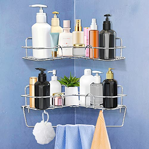 Corner Shower Caddy 2 Pack, Adhesive Corner Shower Shelf Stainless Steel No Drilling, Shower Organizer Shelf with Hooks, Corner Shower Storage Rack for Bathroom,Kitchen,Toilet
