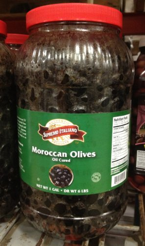 Supremo Italiano Oil Cured Moroccan Olives 1 Gallon -