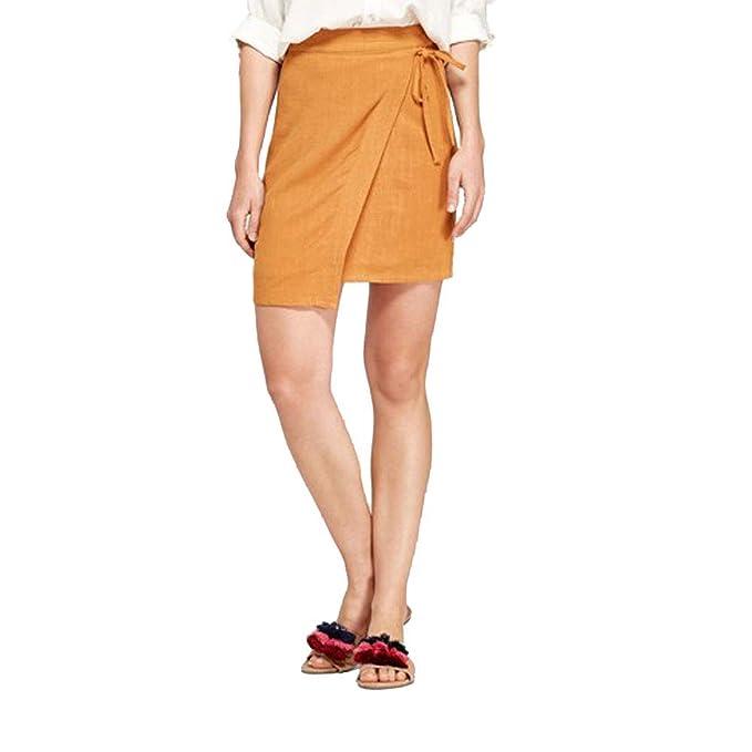 68ad5fd4f3 Amazon.com: A New Day Women's Linen Wrap Mini Skirt: Clothing