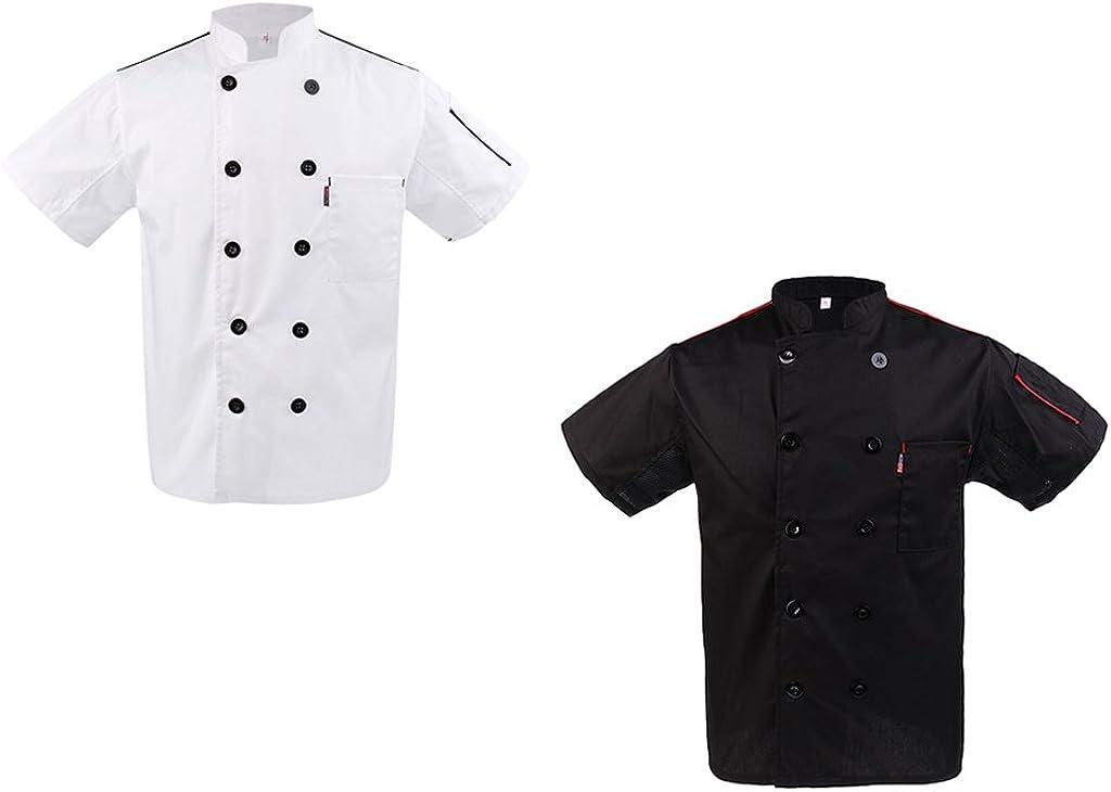 Blesiya Giacca Uomo Donna per Chef Manica Corta in Cotone Cucina Hotel Abbigliamento Indumenti da Lavoro Uniforme