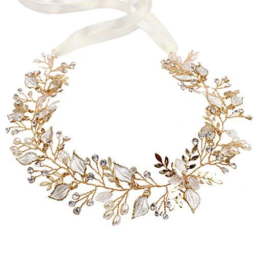 Wedding Accessories Hair Bridal Jewelry Gold Head Band Crystal Headdress Pearl Leaf Headpiece Leaves Headband 148