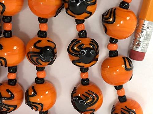 Halloween Design Spider Handmade Orange13x14mm Round Lampwork Glass Beads (6 Beads Pack)