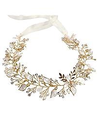 Wedding Accessories Hair Bridal Jewelry Gold Head Band Crystal Headdress Pearl Leaf Headpiece Leaves Headband