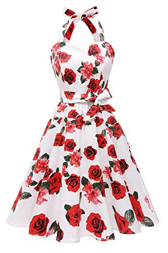 Topdress Women'sVintage Polka Audrey Dress 1950s Halter Retro Cocktail Dress White Rose L ()