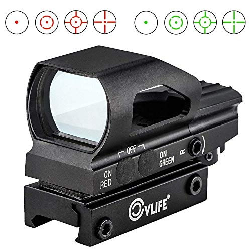 CVLIFE Red & Green Dot Sight 4 Reticles Reflex Sight ON & Off Switch for 20mm Rail Mount (Best Ak 47 Flash Hider)