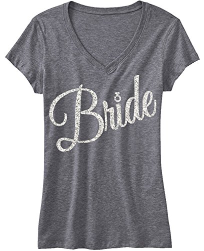 NoBull Woman Apparel Bride Shirt with Silver Glitter Cursive Script (3X-Large)