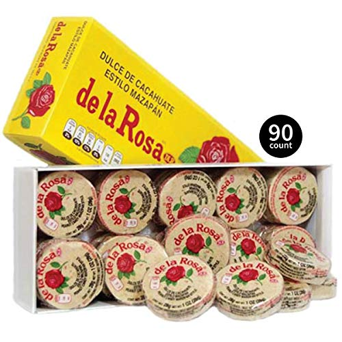 De La Rosa Marzipan Peanut Classic Mexican Candy, 3-30 Packs