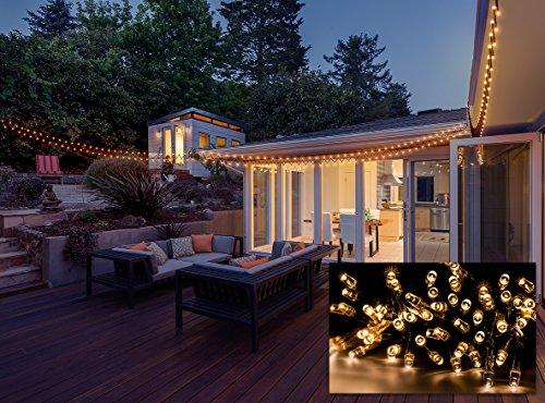 Sorbus® Christmas Lights Solar Powered Waterproof 100 LED Warm White String Lights 55 ft long For Home, Garden, Wedding, and Christmas (Solar Str Light)