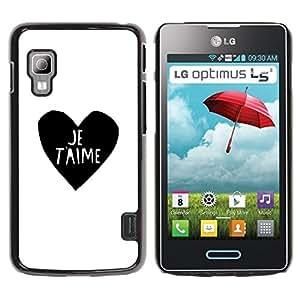 TopCaseStore / la caja del caucho duro de la cubierta de protección de la piel - Love Heart Black White I You Je T'Aime - LG Optimus L5 II Dual E455 E460