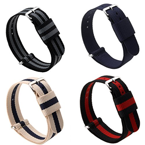Adebena 20/22mm Nato Nylon Strap Replacement Watch Bands with Stainless Steel Buckle,Pack of 4 (20 Mm Watch Band Nato)