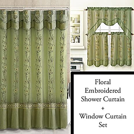 Sage Green Shower Curtain And 3 Pc Window Curtain Set: Bathroom Decor Set,  Double