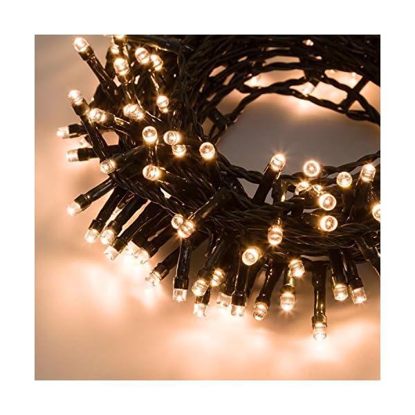 XMASKING Catena 12,5 m, 300 LED Bianco Caldo, con Giochi di Luce, Cavo Verde, luci per L'Albero di Natale, luci Natalizie 2 spesavip