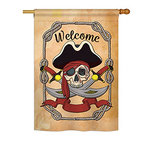 Breeze Decor H107059 Ahoy Coastal Pirate Decorative Vertical House Flag, 28