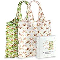 Momiji Premium Reusable Grocery Shopping Bags, Unique European Artists, Certified Recycled Polyester, Set of 2 Bags…