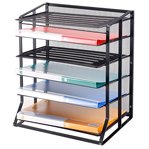 6 Tier Black Metal Wire Mesh Vertical Trays Document File Holder / Office Desktop Sorter Rack - MyGift (Vertical Plastic Sorter)
