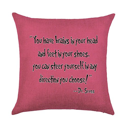 Colorful Bright background pattern The more you that you read The more things you will know Dr. Seuss Cotton Linen Throw Pillow covers Case Cushion Cover Sofa Decorative Square 18X18 inch (4)