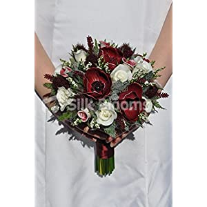 Scottish Inspired Burgundy Anemone and Rose Small Bridal Bouquet with Thistles 110