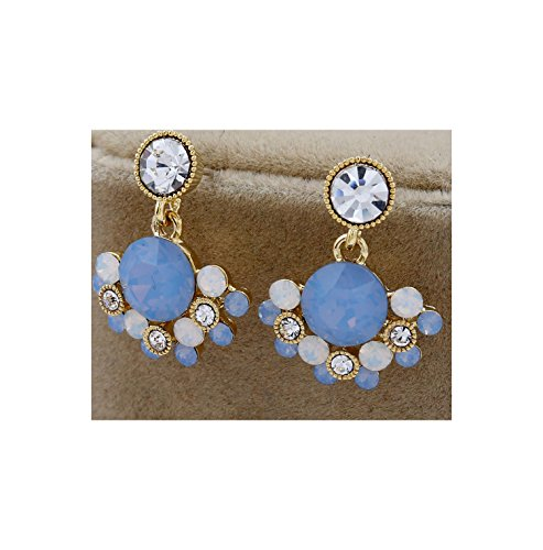 - fashion pop earrings Simple temperament diamond earrings Short exquisite earrings,KC gold light blue