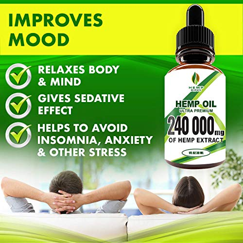 51YsjlgaO4L - Hemp Oil Drops 240 000 mg, 100% Natural Extract, Anti-Anxiety and Anti-Stress, Natural Dietary Supplement, Rich in Omega 3&6 Fatty Acids for Skin & Heart Health, Vegan Friendly