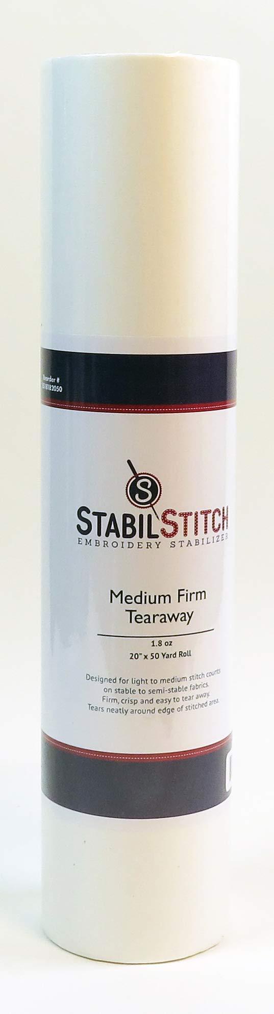 Medium (1.8 oz.) Firm Tearaway 20'' x 50 Yd Roll - Embroidery Stabilizer by StabilStitch