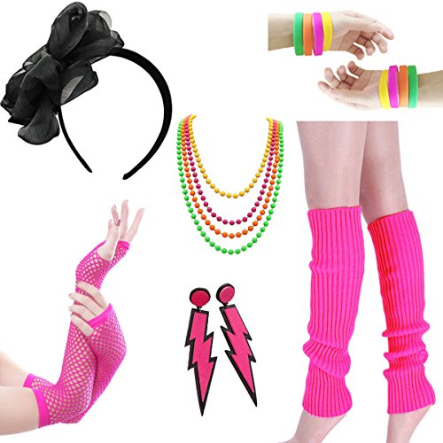 Women Costume 80s Fancy Outfit Accessories Set - Headband Wristbands Bracelet Plastic neon Beads Earrings for Costume Party 80s Theme Party Halloween(Set -