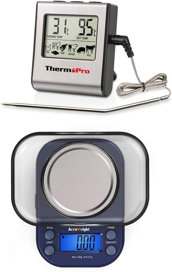 ThermoPro TP16 Digital Food Thermometer + AccuWeight 255 Digital Weight Scale