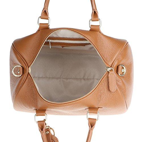 Mano Donna Made A In Borsa Cuoio Vera Italy Da Chicca Bauletto 30x23x18 Con Tracolla Borse Handbag Pelle Cm wORnnqX0