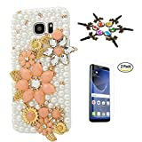 STENES Galaxy Note 8 Case - 3D Handmade Luxury Crystal Flowers Agate Sparkle Rhinestone Design Cover Bling Case for Samsung Galaxy Note 8 Retro Dust Plug & Screen Protector - Orange