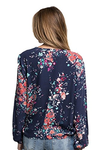 Love Stitch Women's Long Sleeve Floral Surplice Wrap Blouse (Medium, Blue) by Love Stitch (Image #1)