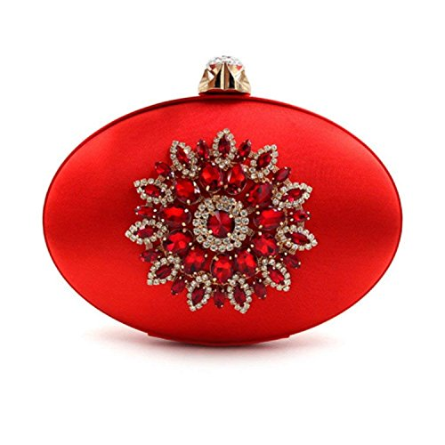 Ladies Clutch Day Red Bags Flower Purse ONCasual Clutches Rising Women Bag Party Evening qwtaHP57Tx