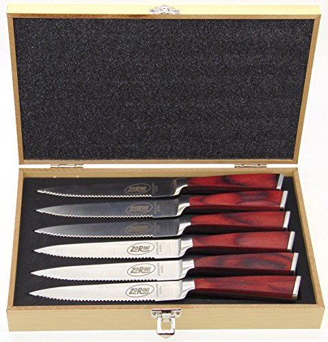 ZoRini Steak Knives, Premium Stainless Steel Steak Knife Set with Pakkawood Handles and Presentation Case Gift Box (Set of (Pakkawood Steak Knives)