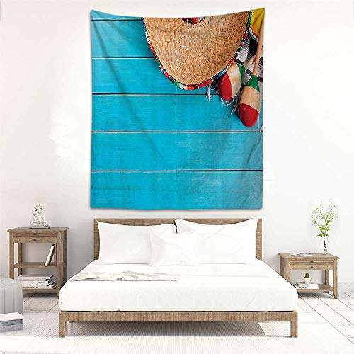 Godves Rectangular Tapestry Mexican Decorations Native Latin Elements with Sombrero and Maracas on Wood Background Home Decorations for Bedroom Dorm Decor 19