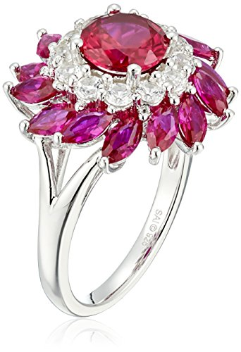 Sapphire Flower Ring White (Sterling Silver Created Ruby and Created White Sapphire Flower Ring, Size 7)