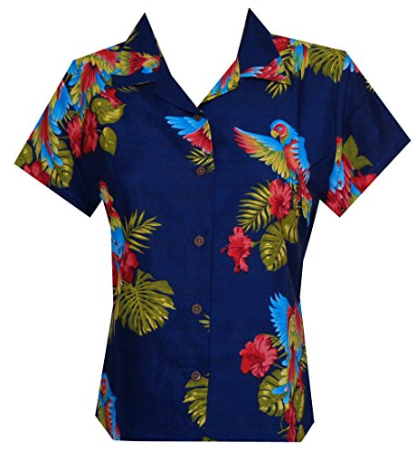 Hawaiian Shirt Women Parrot Flower Aloha Beach Camp Swim Top Blouse