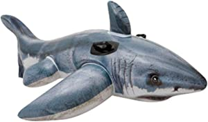 Binory Adult Child Inflatable Animals Mount Swimming Ring Floating Row Water Entertainment Toys,Ride-On Float Lounger Raft for Pool or Lake,Large Outdoor Beach Party Favor Toys(Shark)
