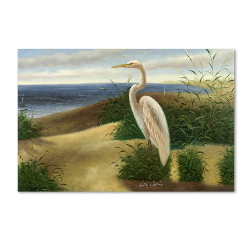 One Heron at The Beach Artwork by Victor Giton, 16 by 24-Inch Canvas Wall Art (Bird Art Wall Shore)