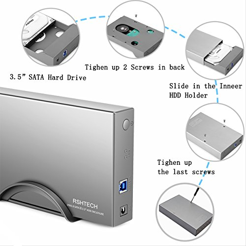 RSHTECH Hard Drive Enclosure USB 3.0 to External Aluminum Case/ Hard Drive Docking Station for 2.5inch/ 3.5inch SATA I/II/III /HDD or SSD Support UASP & 8TB Drives (Silver) by RSHTECH (Image #5)