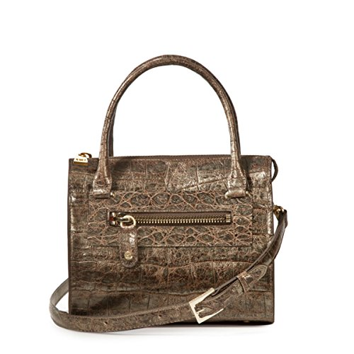 Eric Javits Luxury Fashion Designer Women's Handbag - Lil Zip Loaf - Pewter by Eric Javits