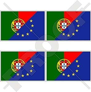 "europe-portugal Bandera, eu-pt Europea union-portuguese 2""(50mm) bumper-helmet de vinilo pegatinas, calcomanías x4"