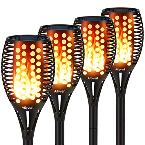 Aityvert Solar Lights Upgraded 42.9 Inch, Solar Flickering Flame Torch Lights Dancing Flames Landscape Decoration Lighting Dusk to Dawn Auto On/Off Outdoor Path Lights for Garden Patio Driveway 4 Pack (Best Looking 4k Games)
