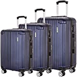 Luggage Set 3 Piece PC Trolley Suitcase Spinner Hardshell Lightweight Suitcases (Navy2)